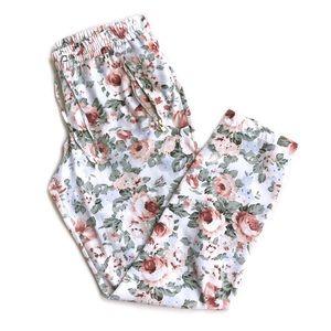 Guess Pastel Floral Print Pants w/ Gold Details